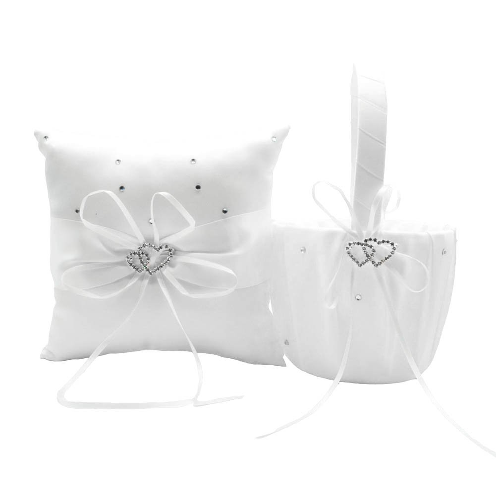 xlpace Basket Ring Pillow Set Bowknot Flower Girls Baskets And Ring Pillows Suit For Wedding Decoration Accessories Party Supplies