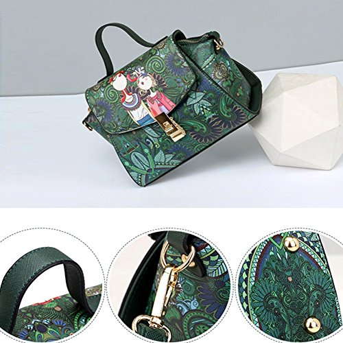 for Crossbody B Retro Type Embroidered Bag Women Handbag EFINNY PU Bags Leather Shoulder Scatchels TBaXwpOqq