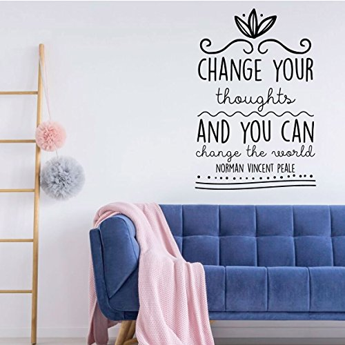 Motivational Wall Decal - Change Your Thoughts And You Can Change The World - Norman Vincent Pale Vinyl Art for Home, Bedroom or Living Room Decor