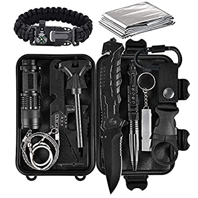Lanqi Gifts for Men, Emergency Survival kit 14 in 1, Survival Gear, Tactical Survival Tool for Cars, Camping, Hiking, Hunting, Fishing by Lanqi