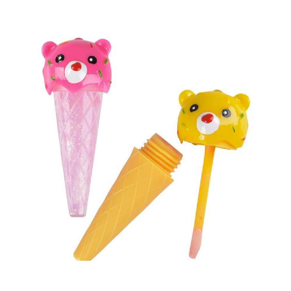 3'' Bear Ice Cream Cone Lip Gloss (With Sticky Notes)