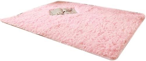 Dimart Washable Shag Area Rugs Super Soft Solid Living Room Carpet Bedroom Rug Pink
