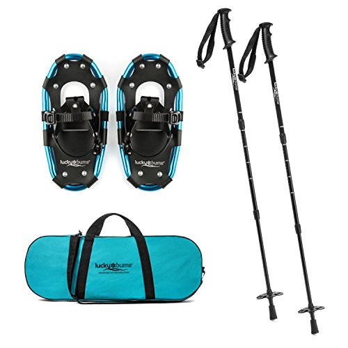 Lucky Bums Youth and Adult Snowshoes with Trekking Poles, Blue, 14-inch