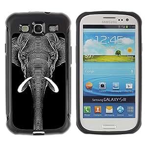 Hybrid Anti-Shock Defend Case for Samsung Galaxy S3 / Cool Black & White Elephant