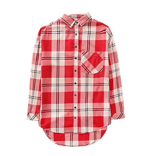 MOMOLAND Big Girls Long Sleeve Plaid Flannel Shirts Red Black White Color Casual (14 Years, Red White Plaid) -