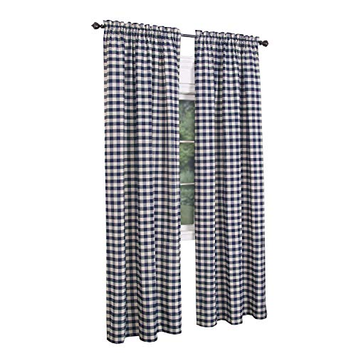 (GoodGram Buffalo Check Plaid Gingham Custom Fit Window Curtain Treatments Assorted Colors, Styles & Sizes (Single 63 in. Panel, Navy))