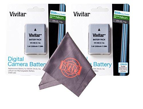2 Pack of Vivitar EN-EL14 / EN-EL14a Ultra High Capacity 2300mAh Li-ion + Microfiber Lens Cleaning Cloth EL14 ENEL14 (Nikon EN-EL14 Replacement) by Vivitar