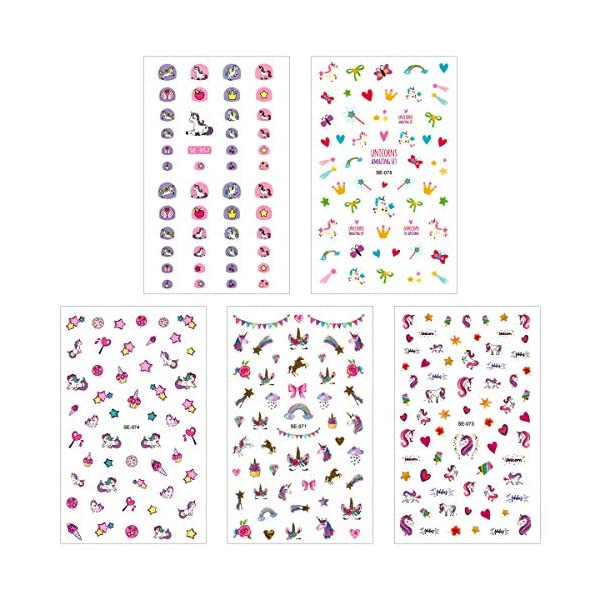 Madholly 10 Sheets Self Adhesive Unicorn Nail Art Stickers Decals Manicure Decoration for Little Girls for Fingernails… 5
