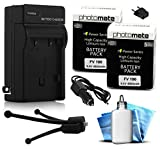 (2 Pack) PhotoMate NP-FV100 FV100 Ultra High Capacity Rechargeable Battery (4800mAh) + Rapid Home AC Wall Charger + Car Adapter + Euro Plug + Cleaning Kit + Mini Tripod for Sony HDR-SX45, HDR-SX85, HDR-XR260V, HDR-CX190, HDR-CX190, HDR-CX200, HDR-CX210, HDR-CX220, HDR-CX230, HDR-CX260V, HDR-CX290, HDR-CX380, HDR-CX580V, HDR-CX760V, HDR-PJ200, HDR-PJ260V, HDR-PJ380, HDR-PJ580V, HDR-PJ710V, HDR-PJ760V, HDR-TD20V, HDR-VG20, NEX-VG30, NEX-VG900, DEV-50V Camcorder / Video Camera