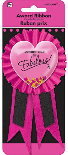 Pink and Fabulous Birthday Confetti Pouch Award Ribbon, 5.8