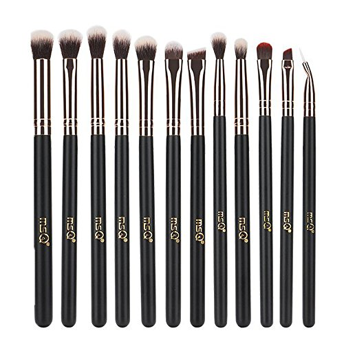 MSQ Eye Makeup Brushes 12pcs Rose Gold Eye Makeup Brushes Set with Soft Natural Hairs & Real Wood Handle for Eyeshadow, Eyebrow, Eyeliner, Blending - Rose Gold(without bag)