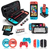 Nintendo Switch Accessories Bundle, Kit with Carrying Case, Screen Protector, Compact Playstand, Switch Game Case, Joystick Cap, Charging Dock, Grip and Steering Wheel for Nintendo Switch, (18 in 1)