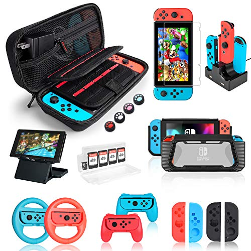 Nintendo Switch Accessories Bundle, Kit with Carrying Case, Screen Protector, Compact Playstand, Switch Game Case, Joystick Cap, Charging Dock, Grip and Steering Wheel for Nintendo Switch, (18 in 1) from deruitu