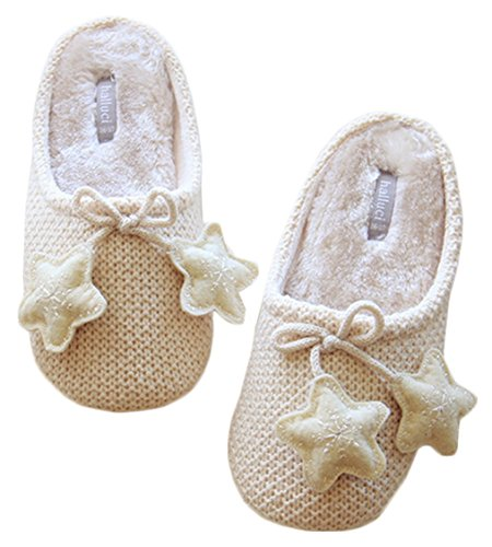 Blubi Mujeres Cream Stars Cotton Closed Toe Zapatillas De Casa Cute Dormitorio Pantuflas