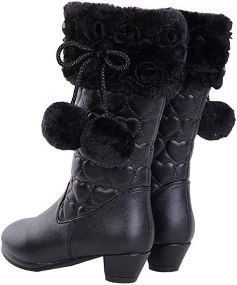 Princess Winter Party Shoes stay real Girls High-Heeled Snow Boots with Butterfly Mid-Calf