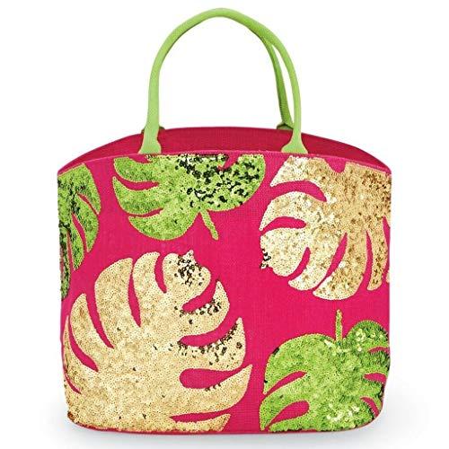Mud Pie Women's Fashion Summer Sea Resort Dazzle Jute Tote 86100006 (Palm)