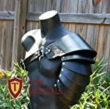The Medieval Shop Spaulder Armor SCA Articulated Pauldron Cosplay Genuine Leather Viking Armor (Black)
