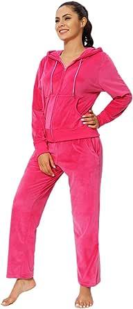 Jogging Sweat Suits for Women 2 Piece Outfits Velvet Tracksuit Sets Velour Zip Hoodie Sweatshirt & Sweatpants Sweatsuits