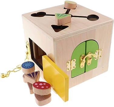Sharplace Juguete Montessori Cubo de Cerradura de Madera Juguetes Educativos para Niños: Amazon.es: Juguetes y juegos