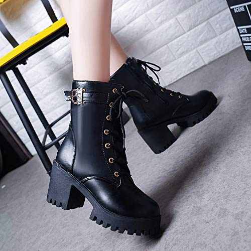 Oxford Noir Cuir mollet Talons Hiver Bloc Plate Chaussures Hauts Femmes En Bottes Vintage Boucle Hlhn Lacets Mi Dcontracte Martin forme SqXRgwS
