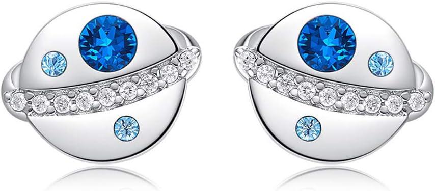 Pendientes de las mujeres S925 Plata Esterlina Azul Planet Stud Pendientes Ronda Brillante Pendientes de piedras preciosas Personalidad Joyería de Moda Simple