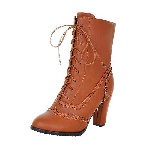 QUICKLYLY Botas Mujer Invierno 2018 Tacon/Planas/Bajo/Ancho/Medio/Fino, Botines Zapatos/Calzado Piel,Tacón Alto Cordones Cuero Punta Clásico Tubo Medio: ...