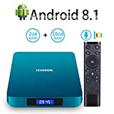 Android 8.1 TV Box with Voice Remote, RK3328 Quad Core 64bit 2GB DDR3 16GB eMMC Memory Smart TV Box with Bluetooth 4.0 WiFi Ethernet HDMI HD 4K Media Player Set Top Box
