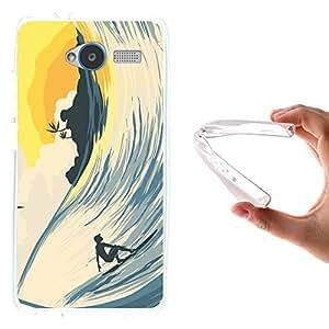 Funda ZTE Blade L3, WoowCase [ ZTE Blade L3 ] Funda Silicona Gel Flexible Ola y Surf, Carcasa Case TPU Silicona - Transparente