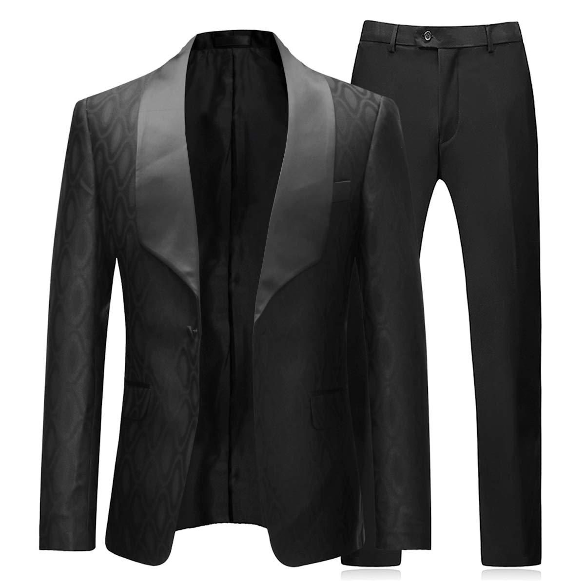 Boyland 2 Pieces Tuxedo Suits Jacquard Wide Shawl Collar One Button Formal Tux Sets Wedding Black by Boyland