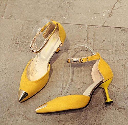 Mujeres de las sandalias de los zapatos ocasionales salvajes zapatos de tacón alto señalado transpirables Yellow