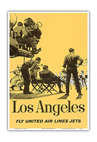 Los Angeles, California - Fly United Air Lines Jets - Hollywood Movie Set - Vintage Airline Travel Poster c.1950s - Master Art Print - 13in x 19in