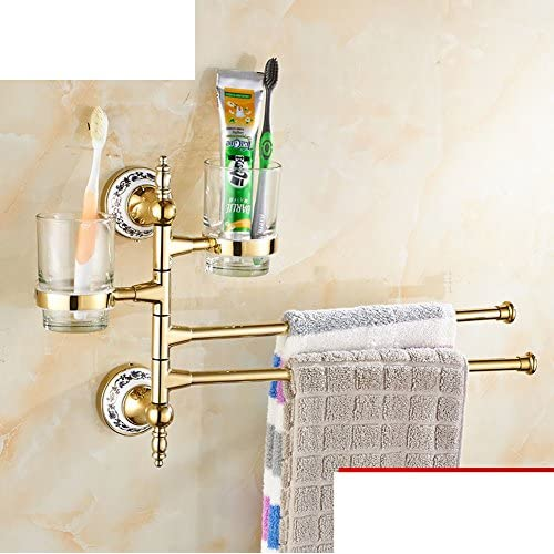 hot sale Continental activities towel bar/Folding rotating stainless steel bathroom towel rack/ Toothbrush holder Tumbler Cup with gold-H