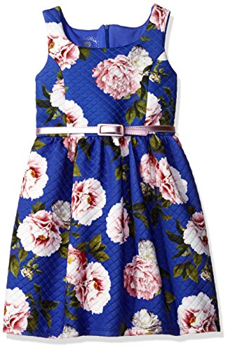 Marmellata Big Girls' Belted Tank Dress, Quilted Blue, 7