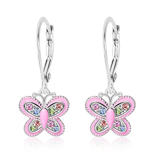 Childrens Butterfly Earrings (Premium 9MM Pink Enamel Crystal Butterfly Leverback Kids Baby Girl Earrings With Swarovski Elements By Chanteur – 925 Sterling, White Gold Tone – Perfect Gift For Children)