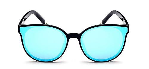 1676952c0b GAMT Cat Eye Mirrored Sunglasses Retro Classic Oversized Designer for Men  Black Frame Blue Lens