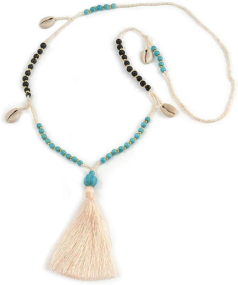 Avalaya Collar largo con borla de algodón de color turquesa, concha de mar, semillas de árbol de imitación, cuentas de cristal blanco crema, borla de 90 cm de largo y 12 cm de borla