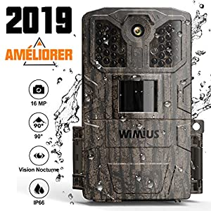 WiMiUS Wildlife Camera 16MP 1080P HD Trail Game Camera with Night Vision Detection Motion Activated Wildlife Hunting Camera with 0.5s Trigger Speed 2.0″ LCD IR LEDs