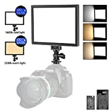 Neewer T100 Softer SMD LED Video Light Lighting Kit: Bi-Color 3200K-5600K Dimmable Ultra Thin LED Panel with 2600mAh Li-ion Battery and USB Charger for Children Portrait Product Studio Photography