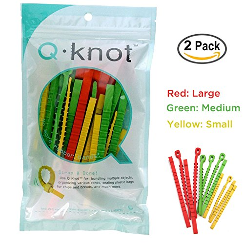50 Q*Knot Rubber Zip Ties Reusable Fasteners Heavy Duty Cords Crafts Assortment by UT Wire (Knot Tie Nail)