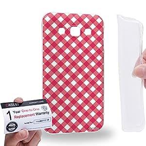 Case88 [Samsung Galaxy E5] Gel TPU Carcasa/Funda & Tarjeta de garantía - Art Coloured Doodle Patterns Pink Checker Art1406