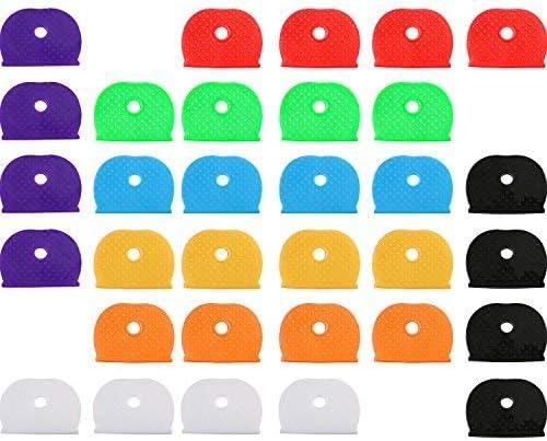 Identificatore di Chiave Portachiavi in Plastica Anelli in 8 Colori Diversi con 32 Pezzi Anelli Portachiavi in Acciaio per Chiavi Organizzazione 64 Pezzi Chiave Tappi Cappucci Kit
