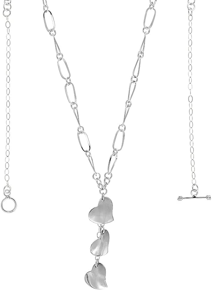 Amazon Com Sterling Silver Three Hearts Toggle Necklace Oval Link 22 Inch Long Jewelry