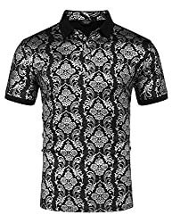 Men's Short Sleeve Shiny Printed Polo Shirt