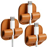 TOPHOME Genuine Leather Cable Clips Cable Organizer Cord Management Wire Management System USB Cable Clips Self Adhesive Durable Multifunction 3 Pcs Orange