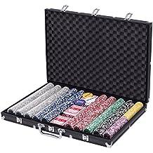 Goplus 1000 Piece Poker Chip Set Holdem Cards Game 11.5 Gram Chips with Black Aluminum Case