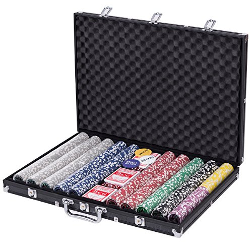 Goplus 1000 Piece Poker Chip Set Holdem Cards Game 11.5 Gram Chips with Black Aluminum Case 1000 Piece Aluminum Poker Case