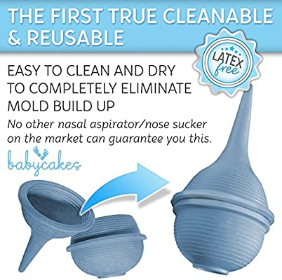 Aspirador Nasal Bebé Succionador de Mocos para Bebés recién nacidos y niños pequeños - Aspirador Nasal lavable y reutilizable con Jeringuilla para Bebés – Succionador de Nariz de Hospital de Baby Cakes: