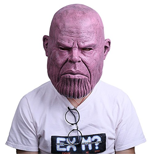 Avengers Infinity War Cosplay Thanos Mask.Halloween costumes.Funny and weird latex mask.Used for Halloween props,friends play pranks on each other.Head circumference can be worn between 54cm and 62cm.]()