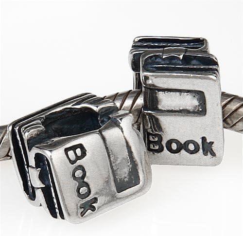Abalorio de plata de ley 925 maciza con dise/ño de libro escolar para pulseras europeas de cadena de serpiente