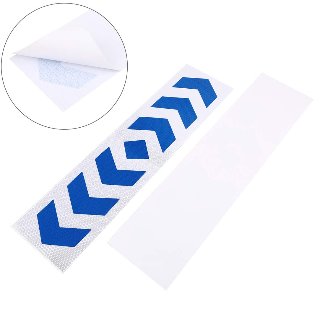 X AUTOHAUX 10pcs Automotive Reflective Stickers Night Visibility Reflective Tape Universal Adhesive 40 x 10cm Silver Tone Blue Arrows Pattern